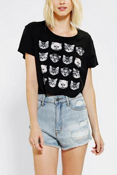 Truly Madly Deeply Catsssss Cropped Tee - Urban Outfitters