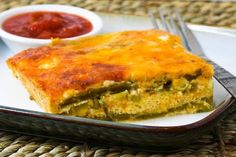 Chile Relennos Casserole-----Holy Cheese Batman! This low carb NOT low cal-I have to do the math but 4C cheese( even Low fat) is a lot-I might have to revamp it-IDK if FF cornbread would be any better. I do LOVE Chile Rellenos!