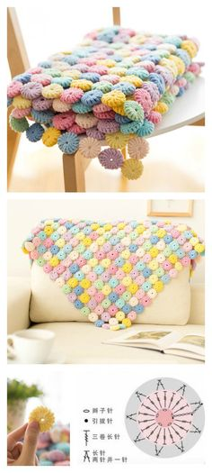 Crochet Afghan Crochet Macaron Stitch Blanket Video Tutorial - This blanket with macarons is very special and attractive. You make one with the Crochet YoYo Puff Free Pattern and Video Tutorial. Crochet Diy, Manta Crochet, Crochet Home, Love Crochet, Crochet Motif, Crochet Crafts, Yarn Crafts, Crochet Flowers, Crochet Stitches