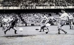 Vava scores Brazil's first goal in their 5-2 win over hosts Sweden in Stockholm in the 1958 World Cup final. It was the first of Brazil's five World Cup triumphs and paved the way for them to dominate the tournament, with two more successes following in the next 12 years