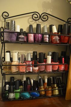Wanted to share my idea: Pretty spice rack for all your nail polishes! =D