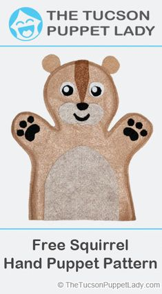 Free pdf pattern download to make a squirrel hand puppet out of felt