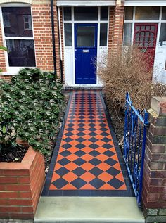 Image result for red and black tiled front path