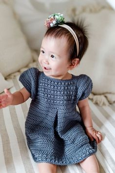 This crochet pattern is suitable for beginners and is part of a collection of modern crochet patterns for babies and children.. available for instant download today #crochet #crochetbaby #crochetpattern #moderncrochet #babycrochet #crochetforbaby Crochet Baby Dress Pattern, Crochet Baby Cardigan, Modern Crochet Patterns, Baby Girl Crochet, Crochet Baby Clothes, Crochet For Boys, Baby Clothes Patterns, Baby Patterns, New Baby Girls