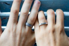 Set of two graphite and titanium wedding bands. Jewelry . Water resistant and hypoallergenic. (00002_4Dn_01100_7N)