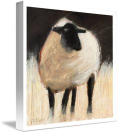 """""""Suffolk+Sheep""""+by+Lois+Dahl,+Bellingham+//+This+impressionistic+style+painting+was+originally+done+using+oil+stick+over+a+gouache+underpainting+on+illustration+board.+//+Imagekind.com+--+Buy+stunning+fine+art+prints,+framed+prints+and+canvas+prints+directly+from+independent+working+artists+and+photographers."""