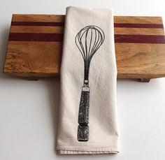 Whisk Flour Sack Towel Deluxe Natural Tea by SproutedDesigns