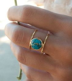 Turquoise Ring * Gold Ring * Statement Ring * Gemstone Ring * Copper Turquoise Ring * Natural * Organic Ring * ByCila * Blue Ring * - Beautiful double thin band ring in gold vermeil. The center stone cut in a circle is the turquoise - Black Hills Gold Jewelry, Silver Jewelry, Jewelry Necklaces, Gold Bracelets, Diamond Earrings, Crystal Earrings, Emerald Diamond, Flower Earrings, Diamond Jewelry