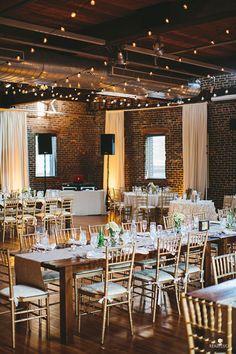 Garden-Inspired Wedding in Baltimore, Reception Decor with Glowing Lights | Brides.com