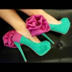 Seafoam Green suede platform stiletto pumps with fuschia flower on heels