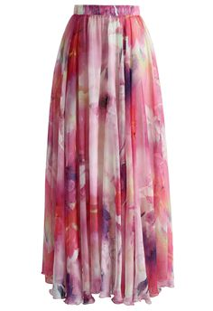Dancing Watercolor Floral Maxi Skirt in Pink - Retro, Indie and Unique Fashion