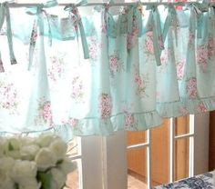 Love the tie ups. Would be cute to add ribbon tie ups like this to my valance to hang. Amazon.com: Shabby and Elegant Blue Rose with Ties Cotton Window Cafe Curtain/valance: Home & Kitchen