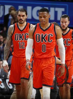 Oklahoma City's Russell Westbrook (0), Steven Adams (12) and Joffrey Lauvergne (77) walk on to the court in the final second of overtime during the NBA game between the Oklahoma City Thunder and Indiana Pacers at the Chesapeake Energy Arena, Sunday, Nov. 20, 2016. Photo by Sarah Phipps, The Oklahoman