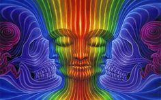 Psychedelic Art by Alex Grey Alex Grey, Alex Gray Art, Psychedelic Art, Art Visionnaire, Tenacious D, Rainbow Face, Tool Band, Perception, Psy Art