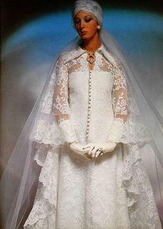 wedding dress 1975 wedding dress [more at… 1970s Wedding Dress, Wedding Dress Trends, Wedding Attire, Wedding Dresses, Wedding Shot, Wedding Lace, Wedding Dj, Bridesmaid Dresses, Prom Dresses