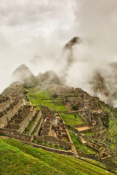 This is on my bucket list! Ancient ruins of Machu Picchu in fog, Peru, by Joerg Bonner Machu Picchu, Huayna Picchu, Ancient City, Ancient Ruins, We Are The World, Wonders Of The World, Places To Travel, Places To See, Travel Destinations