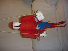 "VTG Angel Orig. Hanging 31"" RED MACAW - HandMade Cloth Sculpture - El Salvador"