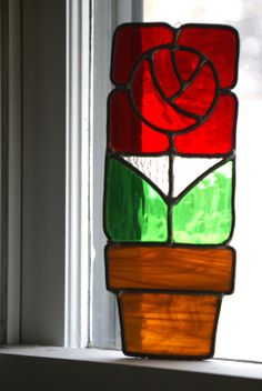 Art Deco STain Glass Sun Catcher by MidCenturecycled on Etsy