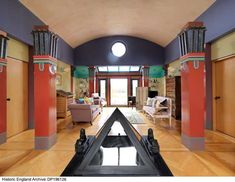 The first-floor living room of Sphinx Hill, Ferry Lane, Moulsford, Oxfordshire Post Modern Architecture, Postmodernism, England, Flooring, Living Room, Interior Design, House, Egyptian, Interiors