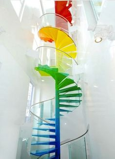 Rainbow spiral staircase