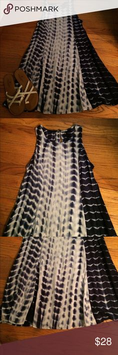 Tye-dye navy blue and white dress Gorgeous dress!!! Brand new never worn.  Bought on posh but never got a chance to wear.  So don't know the brand but it's 100% cotton and super soft. Navy blue and white would also fit an xs. Dresses Asymmetrical