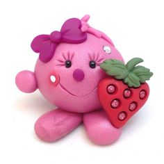 LOLLY with Strawberry - Polymer Clay Figurine - Whimsical Character by KatersAcres