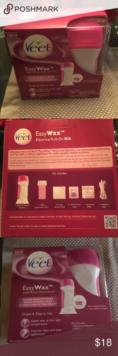 Easy Wax Hair Removal Kit Veet Easy Wax Electrical Roll On hair removal kit. Includes: Warmer & base,  1-refill - Leg & Body Roll On, 24 hair removal strips & 4 finish wipes. New (original packaging) Other