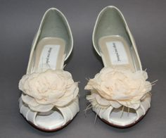 Wedding Shoes  Ivory Satin Peeptoes with by DesignYourPedestal, $165.00