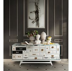 The Mondrian is a modern design sideboard that constitutes a unique and collectable object. A luxurious sideboard that is different from anything else, and exudes a sense of both experimental design and luxury.