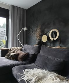 Pin on Playroom Ideas For Older Kids Charcoal Walls, Grey Walls, Living Room Panelling, Interior Styling, Interior Design, Dark Interiors, Bedroom Styles, Home Living Room, Family Room