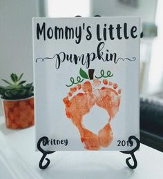 This keepsake kit includes an white canvas with the wording Halloween Arts And Crafts, Halloween Crafts For Toddlers, Family Crafts, Halloween Crafts For Kids, Holiday Crafts, Fall Toddler Crafts, Family Art Projects, Daycare Crafts, Preschool Crafts