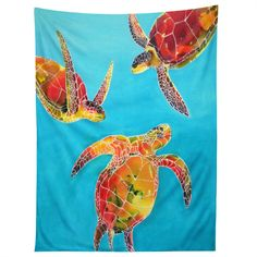 Clara Nilles Tie Dye Sea Turtles Tapestry | Deny Designs Home Accessories
