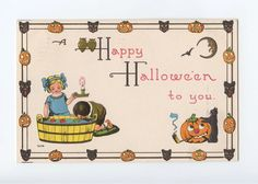 halloween, halloween ephemera, vintage halloween postcard,children, boy, girl,cat, jack o'lantern, owls,crescent moon