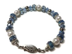 Periwinkle Esophageal & Stomach Cancer Awareness Bracelet w/ Silver Tone Clasp, Bead Caps and Spacer Beads, Faux Pearls and Faceted Crystals - pinned by pin4etsy.com