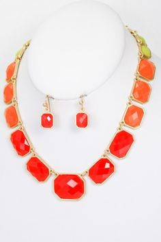 """@Lolly and Lou multi-tone gem necklace! - $19      {Length: 15"""" + ext. Drop earring: 3/4""""/ ONE set available}"""