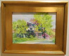 Alexis Lavine:Springtime on Main Street   Size: 18″ x 15″  Medium: Watercolor on Canvas  Price: $300