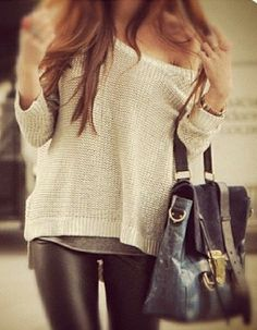 Off the shoulder sweater + leather leggings!...Simple yet chic.