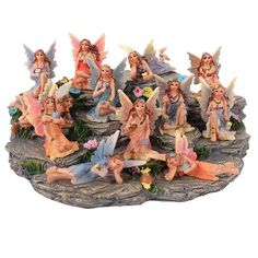Lovely Set of 12 Colourful Fairies with Display Stand Magical Forest Figurines Magical Forest, Beautiful Fairies, Flower Fairies, Decorative Bowls, Fairy, Miniatures, Sparkle, Display, Make It Yourself