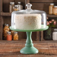 The Pioneer Woman Timeless Beauty 10 Inch Cake Stand W/ Glass Cover displays your scrumptious home-baked goods with impeccable style. Made of milk glass,. The Pioneer Woman, Pioneer Woman Dishes, Pioneer Woman Kitchen, Pioneer Women, Mint Green Cakes, Green Milk Glass, Cake Pedestal, Pedestal Stand, Dessert Aux Fruits