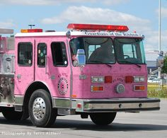 Kokomo, Indiana - The pink heals firetruck for breast cancer awareness. The autographs are from BC survivors. 911 Emergency, Emergency Vehicles, Breast Cancer Survivor, Breast Cancer Awareness, Jorge Martinez, Kokomo Indiana, Firefighter Emt, Pink Truck, Pink Cars
