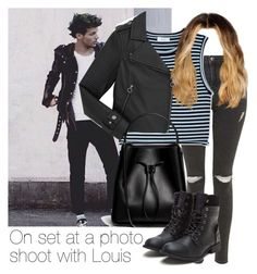 """On set at a photo shoot with Louis"" by style-with-one-direction ❤ liked on Polyvore featuring Topshop, A.L.C., Marc by Marc Jacobs, 3.1 Phillip Lim, OneDirection, 1d, louistomlinson and louis tomlinson one direction 1d"