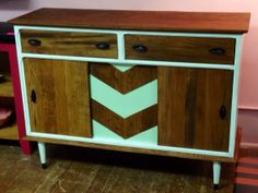 Mid-century Modern buffet, sideboard, credenza, painted white with mint chevron on Etsy, $500.00