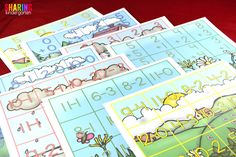 Spring Into Math Fun with FUN addition and subtraction mats.