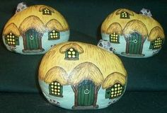 painted rock houses    Some gnome houses, for putting in planters. They're small compared to ...