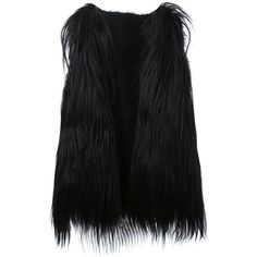 Scanlan Theodore long goat hair vest ($1,435) ❤ liked on Polyvore featuring outerwear, vests, black, vest waistcoat, fur waistcoat and fur vest