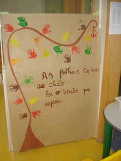 autumn poster with hands paint
