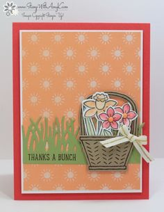 I used the Stampin' Up! Basket Bunch stamp set bundle from the upcoming 2017 Occasions Catalog to create my card to share today.