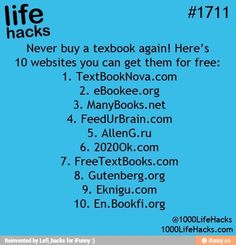 #1711 Never buy a textbook again ! 10 Websites you can get them for free :