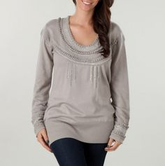Embroidered Scoop Neck Sweater with Sequins.