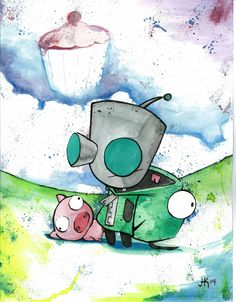 Gir - Invader Zim by: Joseph Kennedy - JK iMAGES  prints available here>> https://www.etsy.com/listing/214077203/gir-invader-zim